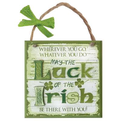 """Rustikale Irland-Holztafel """"Möge das Glück der Iren mit dir sein"""""""