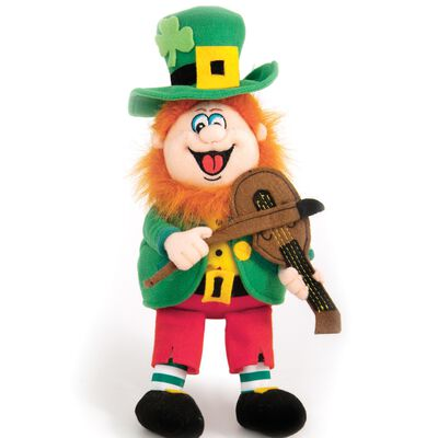 23cm Finnegan The Irish Singing Leprechaun Soft Toy With Fiddle