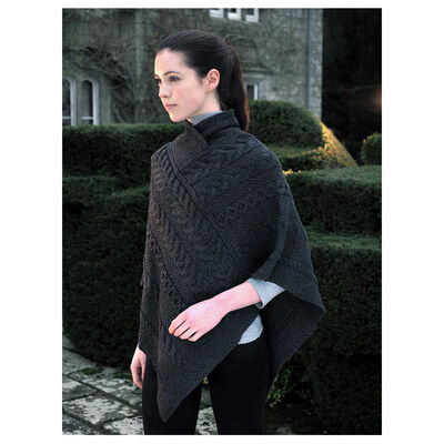 100% Merino Wool Aran & Cable Pattern Poncho, Charcoal Colour