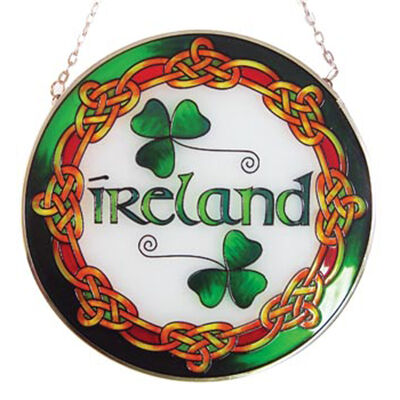 6 Round Stained Glass Hanging Panel With Ireland Text