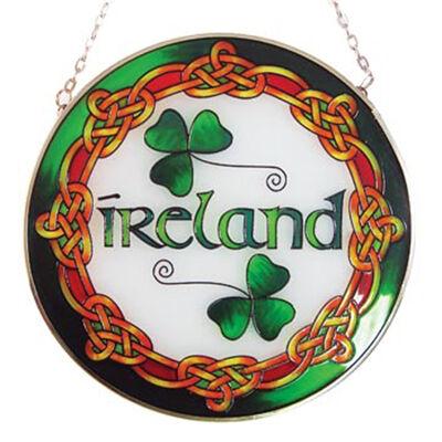 6 Runde hängende Tafel mit Ireland Text aus Buntglas