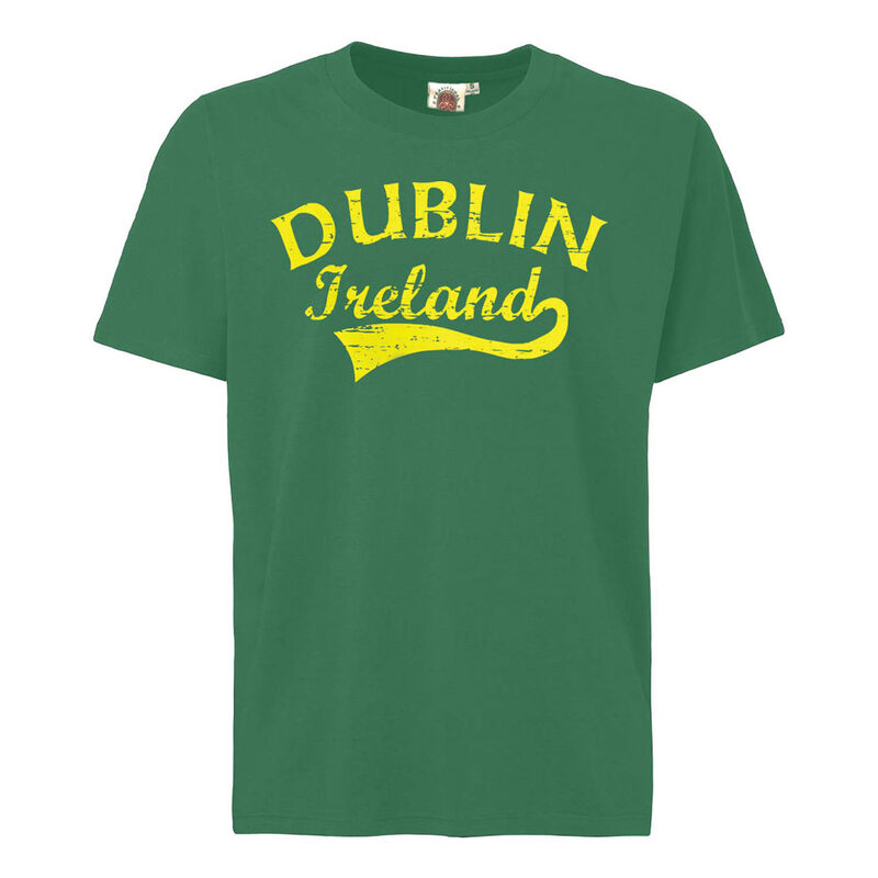 Crew Neck T-Shirt With Yellow Dublin Fame Style Print  Green Colour