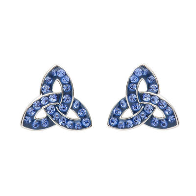 Platinum Plated Trinity Knot Stud Earrings With Blue Swarovski Crystals
