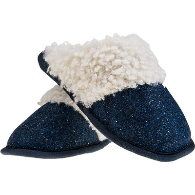 Aran Woollen Mills Kerry Tweed Slip on Slipper, Blue Colour