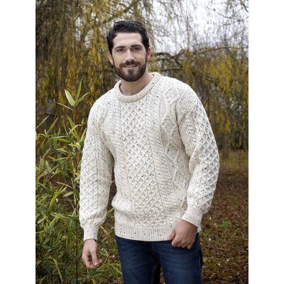 West End Knitwear Men's Aran Sweater Fleck Colour 100% Merino Wool