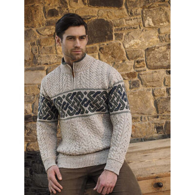 Men's Half-Zipped Jacquard Sweater with Celtic Knitted Design  Oatmeal Colour