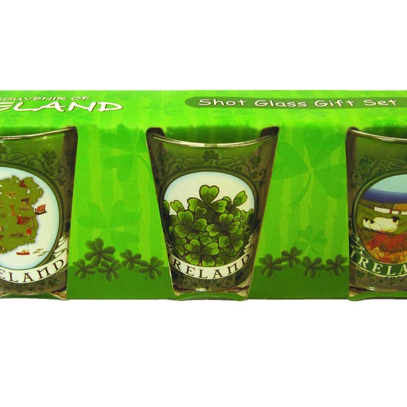 3 Pack Of Souvenir Ireland Shot Glasses