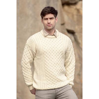 West End Knitwear Men's Aran Sweater Natural Colour 100% Merino Wool