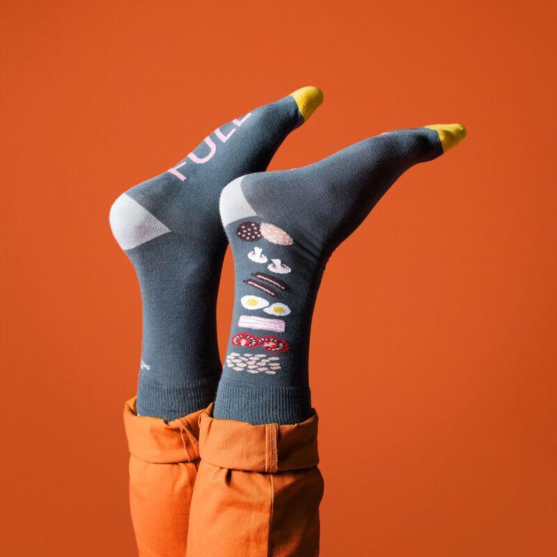 Irish Socksciety Full Irish Socks - Grey Colour With Irish Breakfast Design