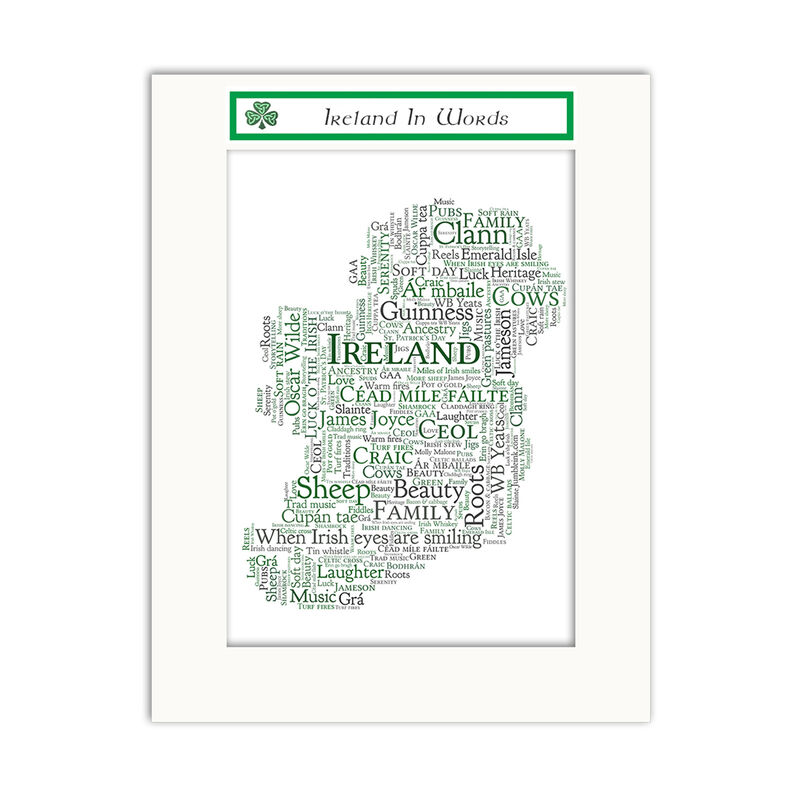 Jumble Ink - Ireland In Words  With Map of Ireland Design Wall Art