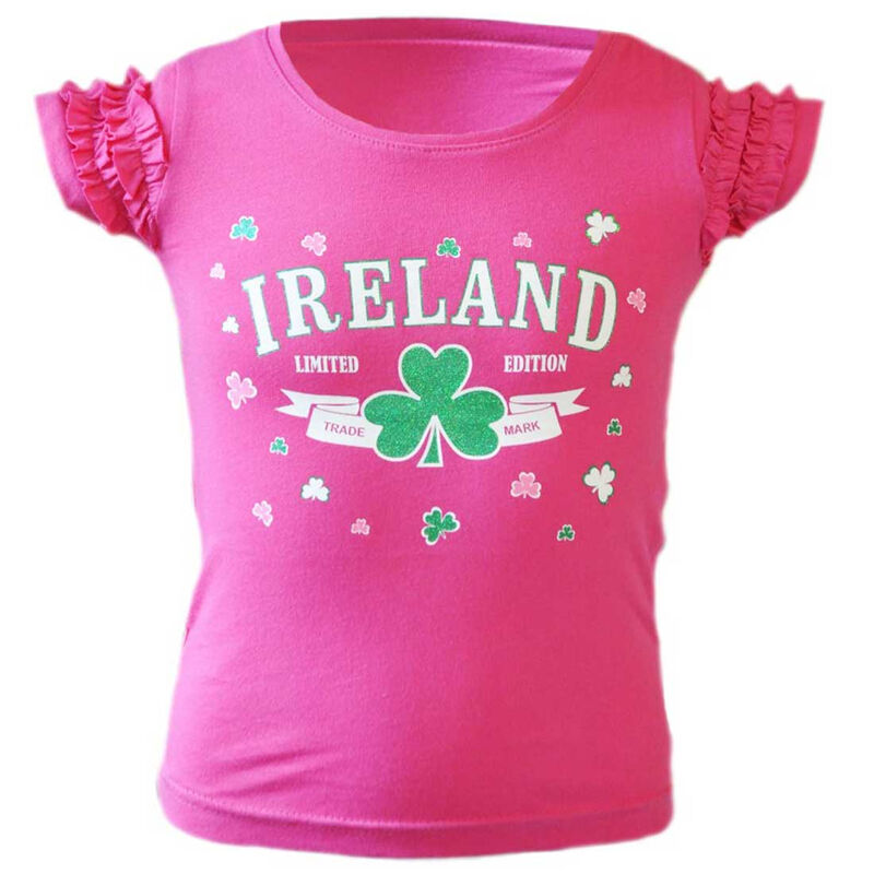 Pink T-Shirt With Ireland Limited Edition Shamrock Print