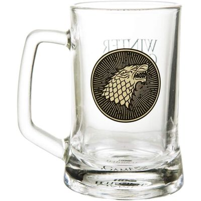 Game Of Thrones Official House Stark Glass Stein With Crest and Sign