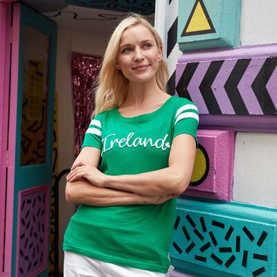 Ireland Text Ladies T-Shirt With Stripes  Green And White Colour