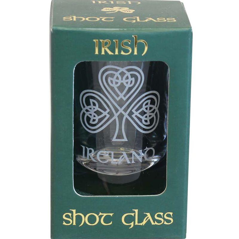 Boxed Irish Shot Glass With Single Shamrock Design