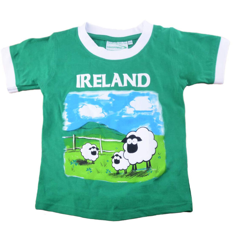 White and Green Kid's T-Shirt With Ireland Sheep Print