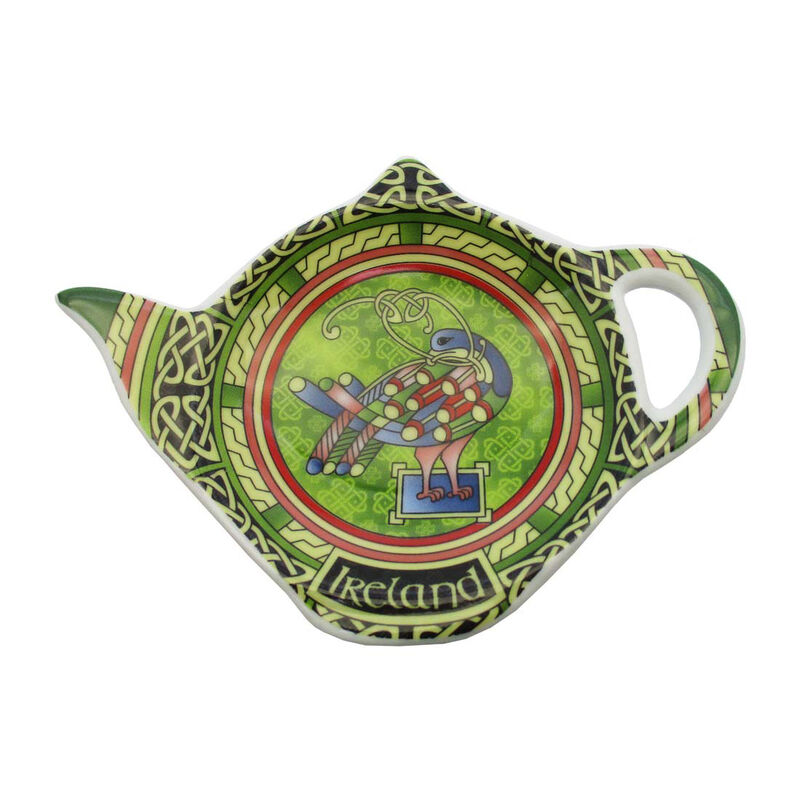 Celtic Peacock Ireland Teabag Holder With A Coloured Trinity Irish Design