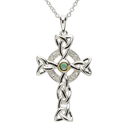 Platinum Plated Celtic Cross Pendant With Green Centre And Clear Swarovski Crystal