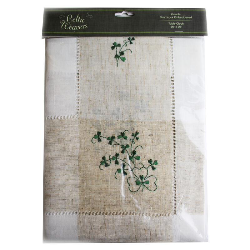 """Pure Cotton Natural Tablecloth Designed With Shamrock Crochet, 36"""" X 36"""""""
