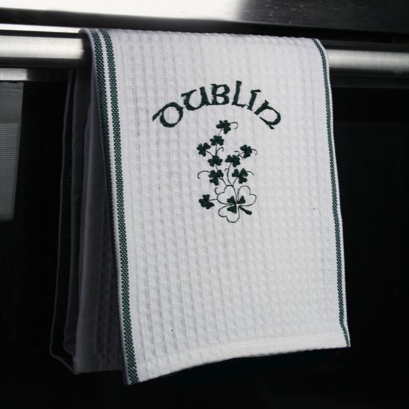 Waffle Embroider Shamrock Tea Towel With Dublin And Shamrock Print