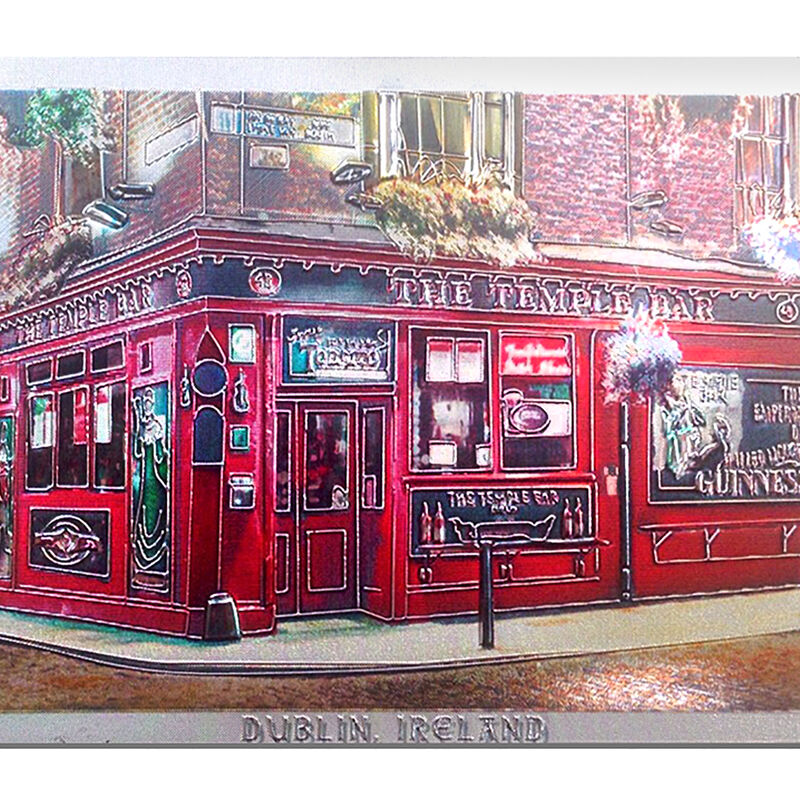 Ireland Foil Magnet Of The Famous Temple Bar Dublin  Renowned For Its Whiskey