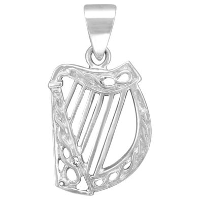 Hallmarked Sterling Silver Celtic Harp Designed Pendant On A Chain