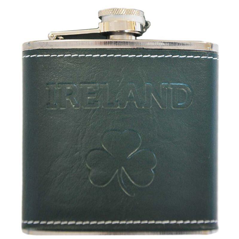 6OZ Hip Flask With Shamrock Ireland Design With Dark Green Leather