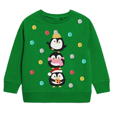 Kids Green Christmas Sweater With Penguins & Glitter Design
