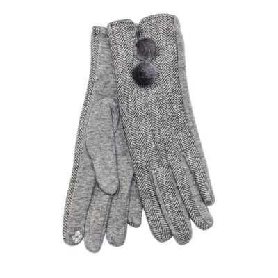 Tartan Traditions Ladies Double Pom Pom Gloves  Light Grey Colour