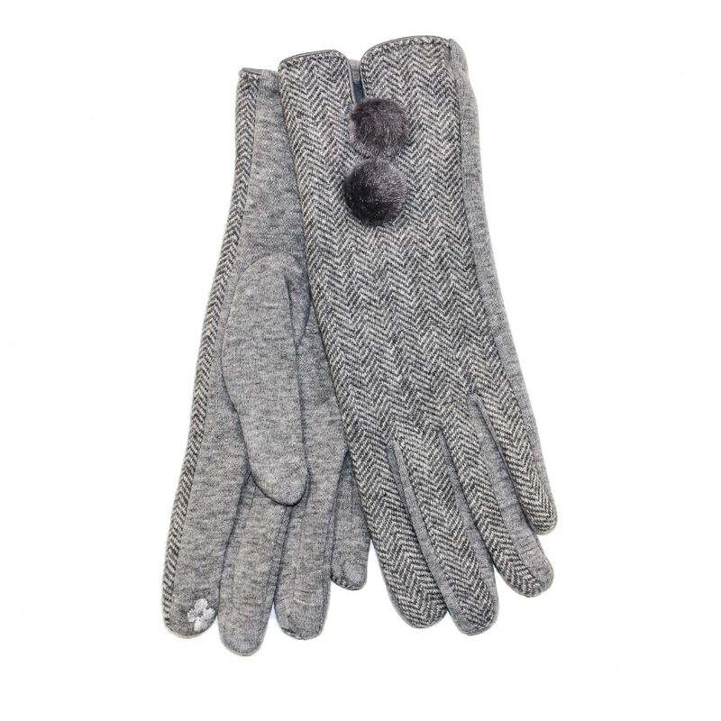 Tartan Traditions Ladies Double Pom Pom Gloves  Light Grey Colour