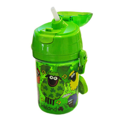 Green Plastic Wacky Woollies Beaker With Pop Up Lid And Adjustable Strap