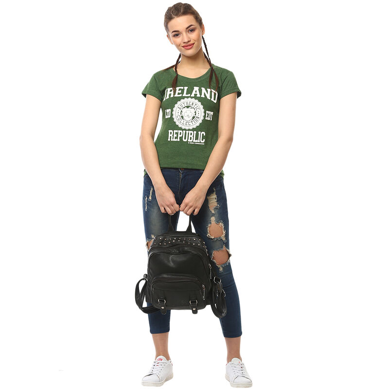 Ladies T-Shirt With Ireland Republic LTD EDT Varsity Shield  Green Colour