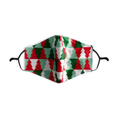 Re-Usable Christmas Tree Face Covering Design With Adjustable Ear Loops & Filter