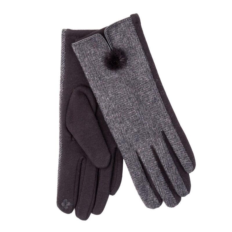 Tartan Traditions Ladies Herringbone Pom Pom Gloves  Grey Colour