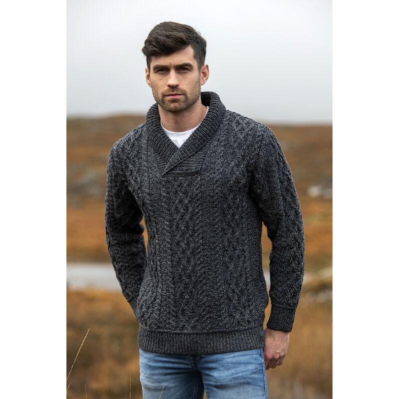 100% Merino Wool Bunratty Shawl Collar Sweater, Charcoal Marl Colour