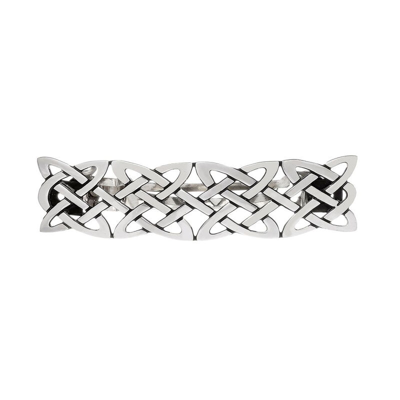 Silver Plated Small Hairlclip With Irish Celtic Knotwork Design