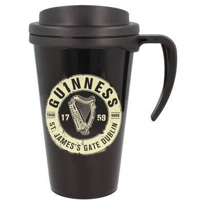 Official Guinness Merchandise Black Travel Mug With Guinness Label