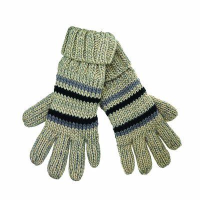 Grey Stripes Fleece Lined Gloves