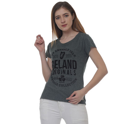 Ireland Originals Emerald Isle Ladies T-Shirt With Green Grindle Yarn Design