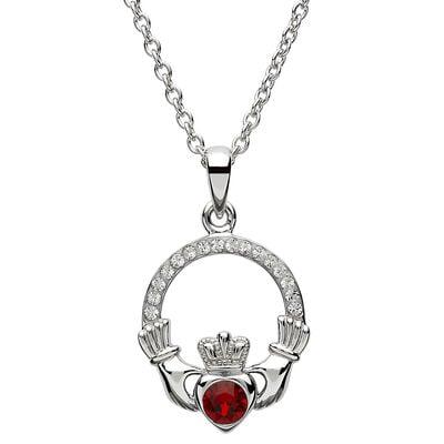 Platinum Plated Claddagh January Birthstone Pendant With Swarovski Crystals