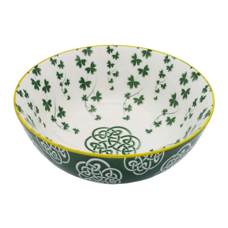 Irish Celtic Bowl With Trellis Shamrock Design 14cm