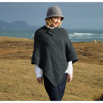 100% Merino Wool Ladies Poncho With Buttons, Charcoal Colour