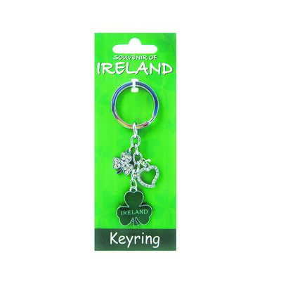 Metal Keychain With Green Shamrock andamp; Diamante Shamrock andamp; Heart Charms