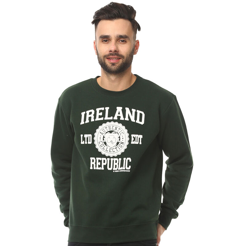 Pullover Sweater With Ireland Republic Print  Forest Green Colour