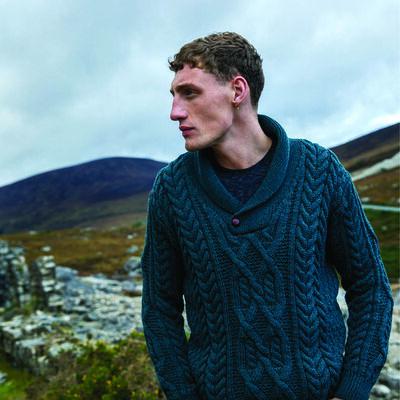 Dair Merino Wool Aran Shawl Collar Sweater, Evergreen Colour