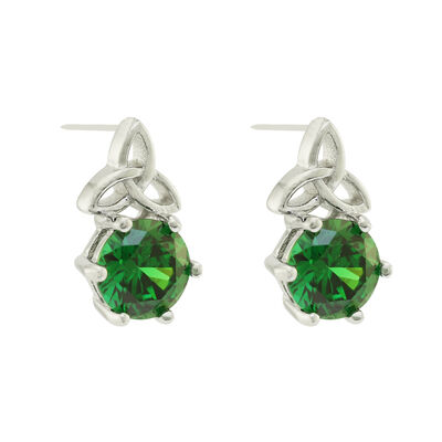 Hallmarked Sterling Silver Trinity Knot Earrings With Emerald Stone