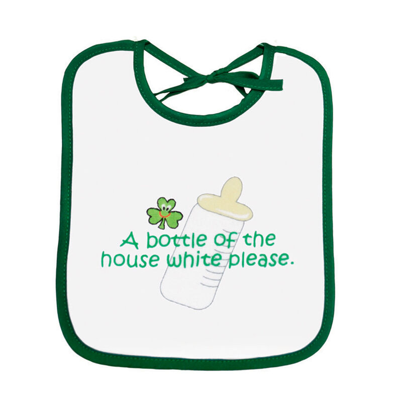 Baby Bib 'a Bottle Of The House White Please' Print