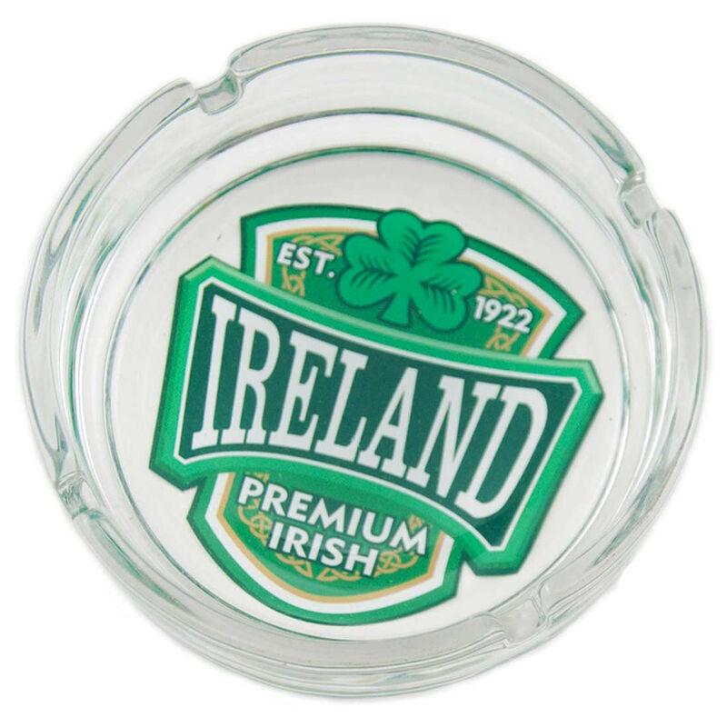 Glass Ashtray With Green Ireland Varsity Shield