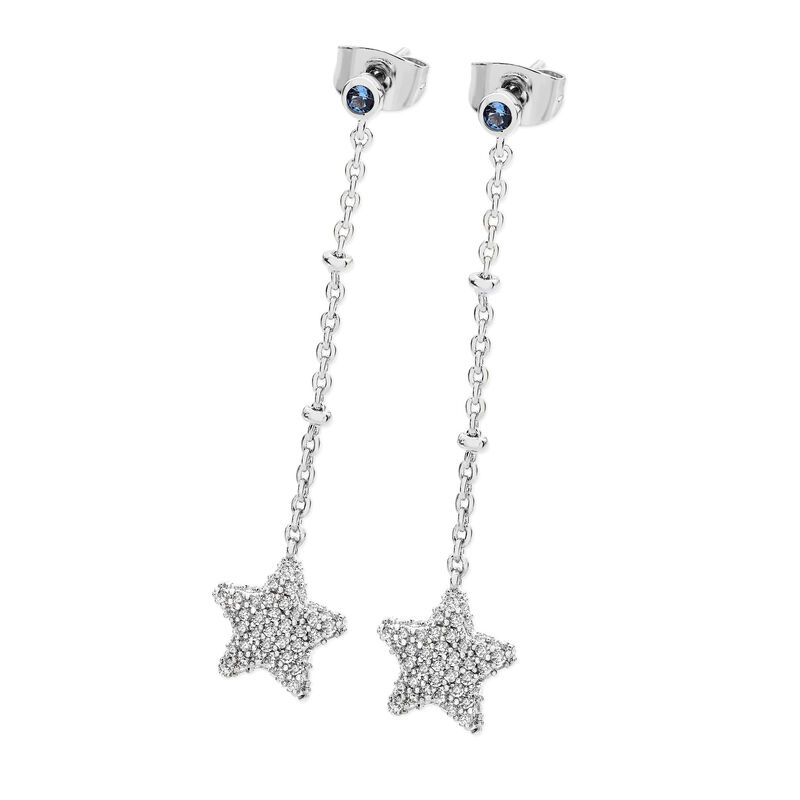 Tipperary Crystal Silver Plated Star Pave Earrings With Blue Cubic Zirconia