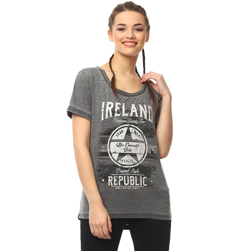 Dark Grey Ireland Republic Ladies T-Shirt With Star Design and 'Cead Mile Failte' Text