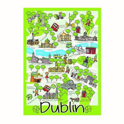 Kultige Dublin-Karte  einzelnes Geschirrtuch